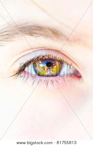 Photographer Portrait Reflection In Open Human Eye
