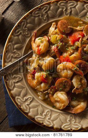Homemade Shrimp and Sausage Cajun Gumbo Over Rice poster