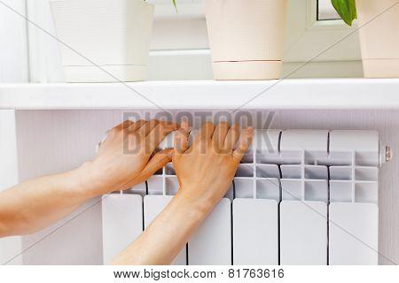 Arm Put On  Heating White Radiator.windowsill With Flowers.