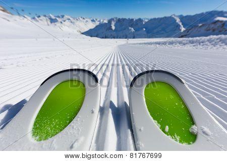Ski Tips On Newly Groomed Ski Slope