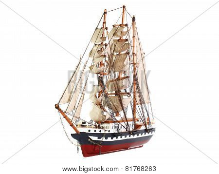 Model Of Sailing Frigate. Isolated.