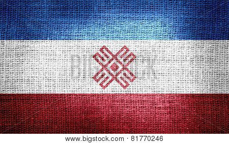 Grunge of Mari EI flag on burlap fabric poster