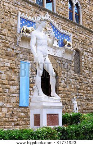 Michelangelo's Replica David . Florence, Italy