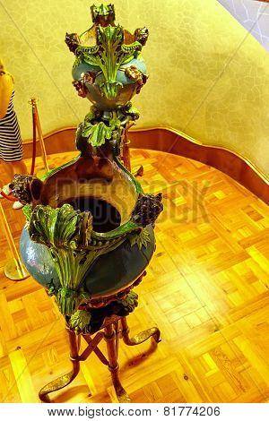BARCELONA, SPAIN - SEPT  04, 2014: Interior and inner chambers Gaudi's  creation house Casa Batlo.