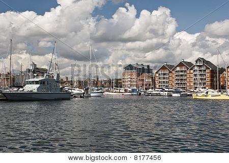 Ipswich Waterfront Marina On Sunny Day