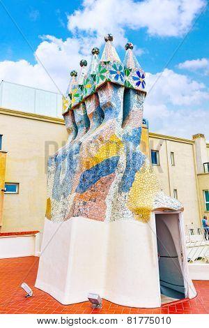 BARCELONA, SPAIN - SEPT  04, 2014: Roof, housetop  Gaudi's  creation-house Casa Batlo.