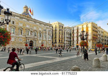 BARCELONA, SPAIN - SEPT  02, 2014: Beautiful landscape of the urban view Barcelona