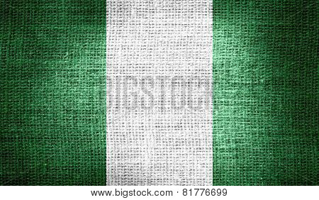 Nigeria flag on burlap fabric