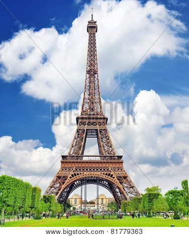 Eiffel Tower -view from the Champs de Mars.Paris France poster