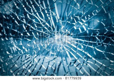 Broken Toughened Glass Closeup
