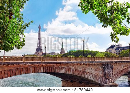 Eiffel Tower -view From Embankment Of The River Seine.paris? France