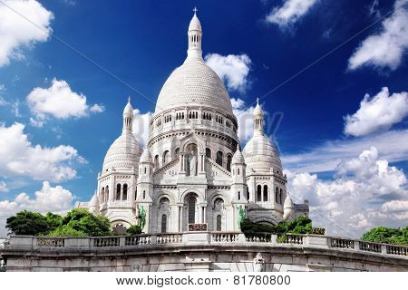 Sacre Coeur Cathedral On Montmartre , Paris