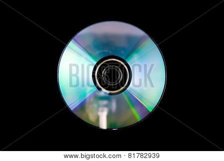 Single Dvd-rw Disc On Black .