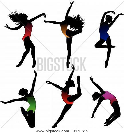 Set cute Dance girl ballet silhouettes vector poster