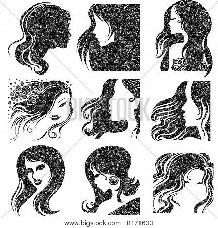 Vector set of closeup grunge portrait of beautiful woman
