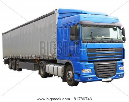 Big Blue  Truck. Isolated Over White.
