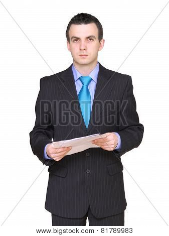 Businessman With Paper Folder. Isolated .