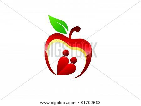 apple heart logo, lovers hearth couples symbol, health nature nutrition icon