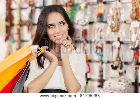 Happy Beautiful Woman Shopping
