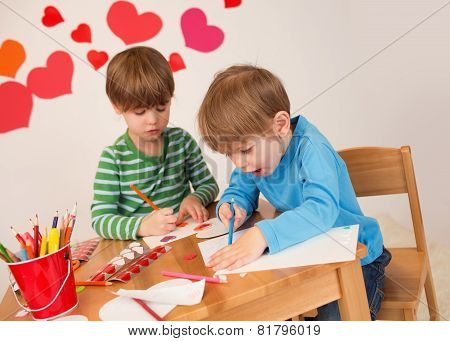 Kids Engaged In Valentine's Day Crafts: Love And Hearts