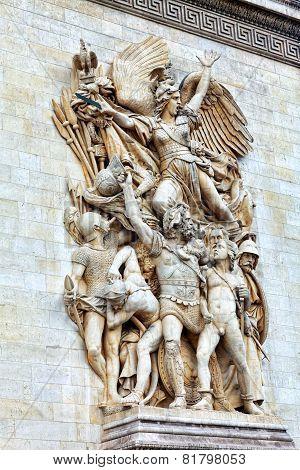 Moldings on the Arc de Triomphe. Paris. poster