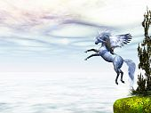 Pegasus the fabled winged horse takes to flight from a nearby cliff. poster