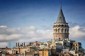 Galata Tower And Old Apartments, Istanbul, Turkey poster