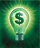 Digital illustration concept of saving money, money symbol in a light bulb. poster