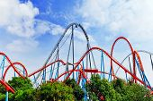 Roller Coaster in funny amusement  park in summer day. poster