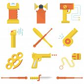 Set of flat yellow and orange color vector icons for self defence weapons and devices on white background. poster