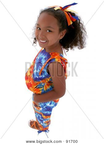 Beautiful Six Year Old Girl Standing Over White