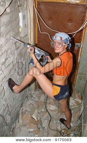 Woman With Hammer Drill