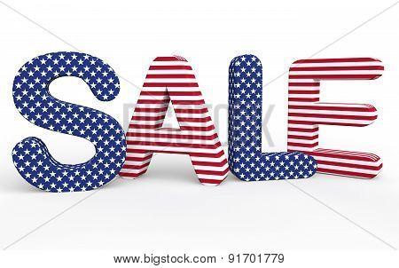 USA themed 3d sale text
