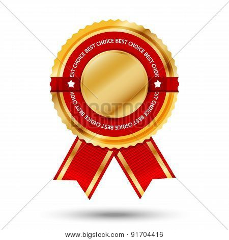 Premium golden and red Best Seller label. Isolated on white background. Vector