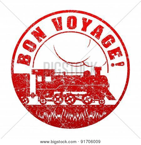 Bon Voyage - Rubber Stamp With The Silhouette Of  Retro Steam-powered Locomotive. Grunge Style Vecto