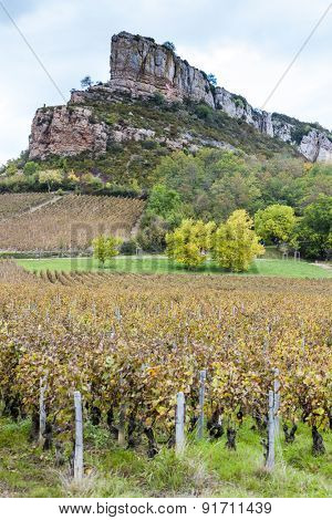 Solutre Rock with vineyard, Burgundy, France
