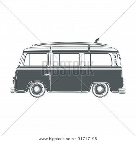 Retro, vintage, travel, camper van, with surf board.