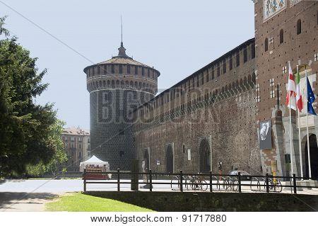 Tower To ?astello Sforzesco's Castle In Milan