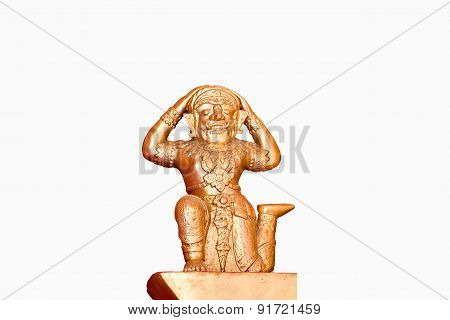 Thai Female Ogre Statue On White Background