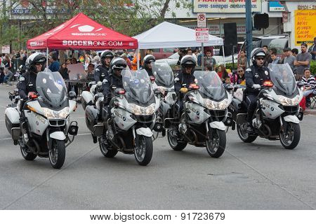 Police Department Motorcycle Officers Performing