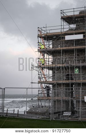 Workmen Repair Ballybunion Castle