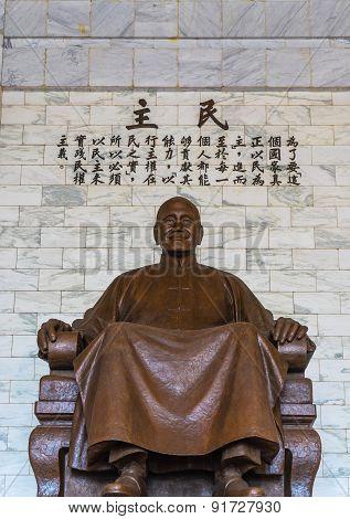 The bronze statue of Chiang Kai-shek in Taipei, Taiwan.