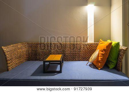 Rattan Sofa At Night Time