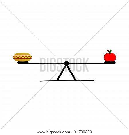 Food On Teeter Vector