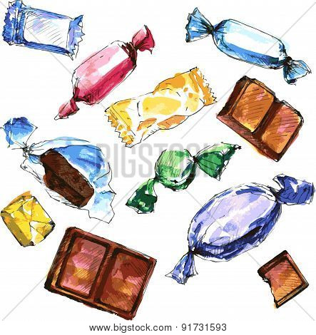 set of watercolor drawing candy