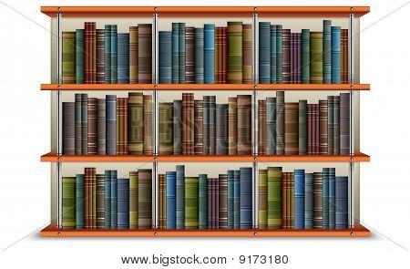 wooden bookshelf with vintage old books and frame vector illustration. poster