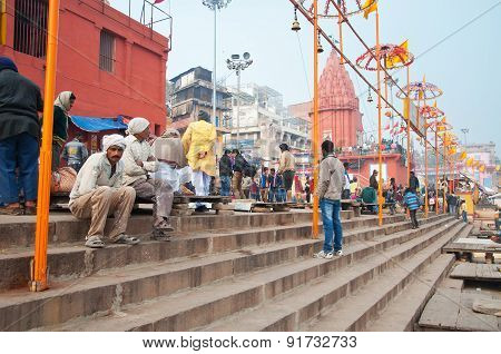 Dashashwamedh Ghat In Varanasi On The Ganges River