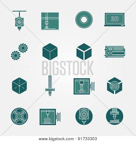 3D print icons vector set