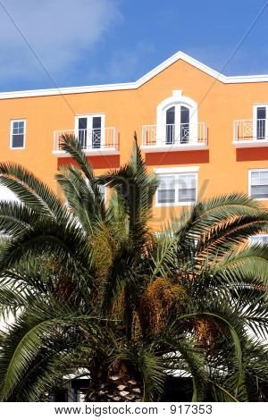 Bright Apartment Building With Palm Trees