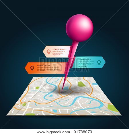 A City Map With Digital Satellite Gps Pin Point With Colorful Badge And Label Tags With Sample Text